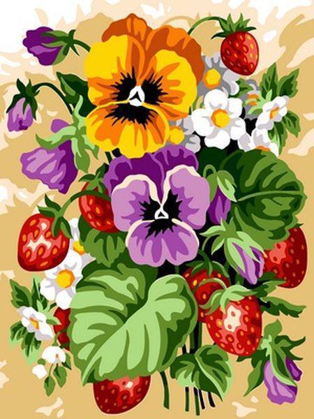 Картины по номерам 30×40 см. Фруктовый букет