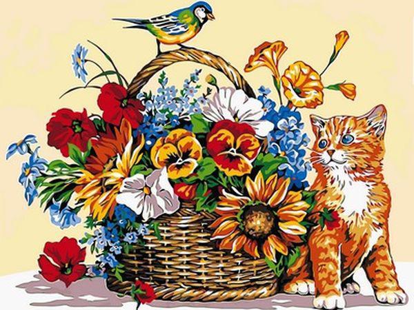 Картины по номерам 30×40 см. Кошка и цветочная корзина