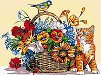 Картины по номерам 30×40 см. Кошка и цветочная корзина, фото 1