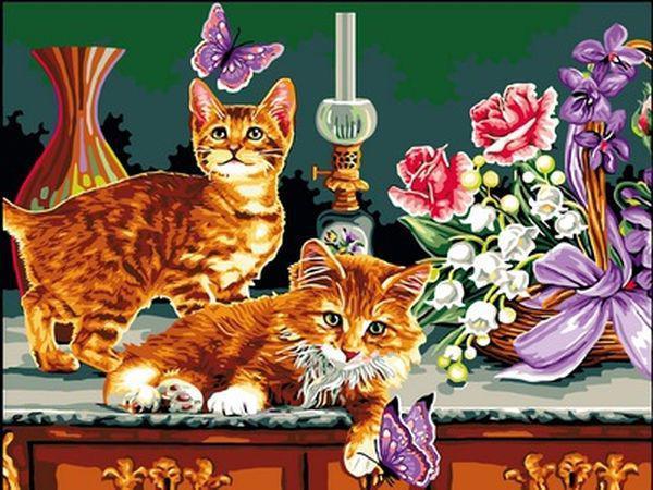 Картины по номерам 30×40 см. Охота на бабочек