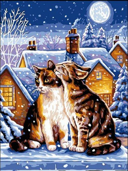 Картины по номерам 30×40 см. Зимняя ночь