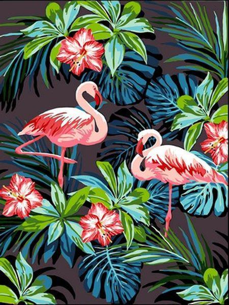 Картины по номерам 30×40 см. Фламинго