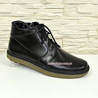 Ботинки мужские на утолщенной подошве, натуральная черная кожа.