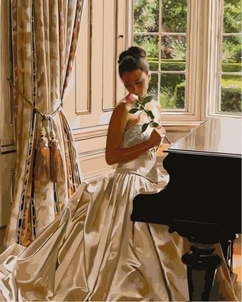 Картины по номерам 40×50 см. Девушка с розой Художник Роб Хефферан
