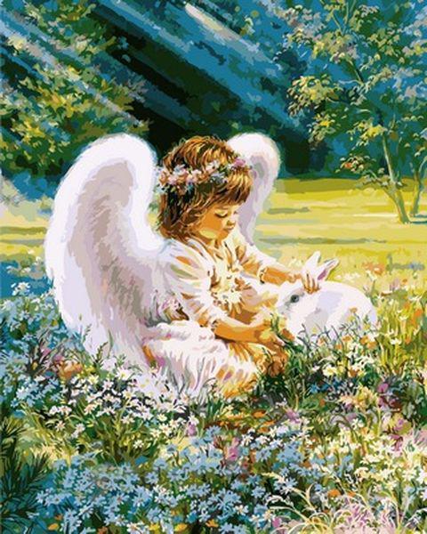 Картины по номерам 40×50 см. Ангел с зайкой