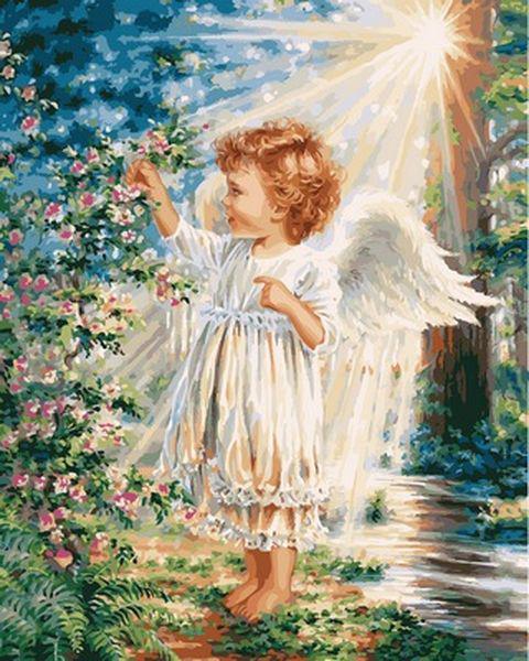 Картины по номерам 40×50 см. Прикосновение Ангела