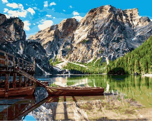 Картины по номерам 40×50 см. Альпийское озеро Брайес Италия
