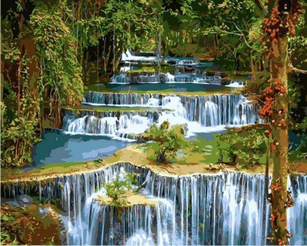 Картины по номерам 40×50 см. Каскадный водопад в лесу