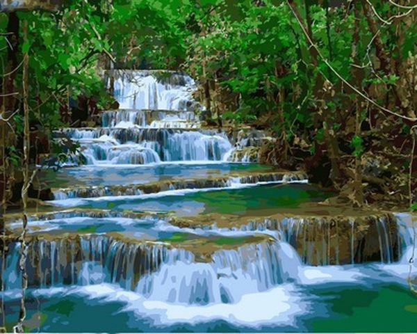 Картины по номерам 40×50 см. Водопад Эраван Тайланд (VP-913)