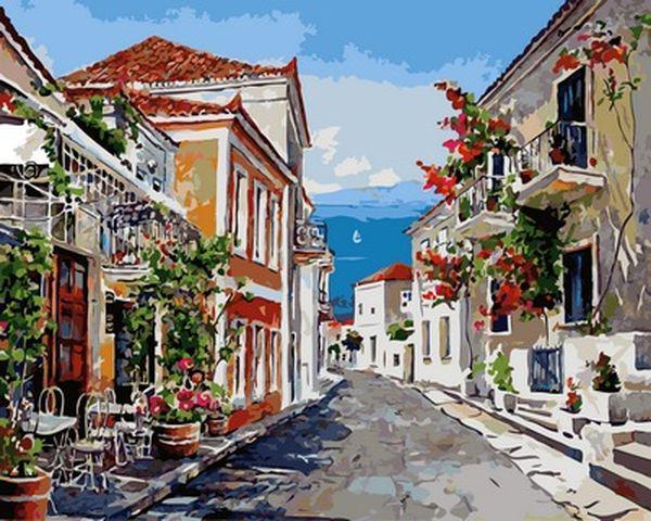 Картины по номерам 40×50 см. Приморский городок