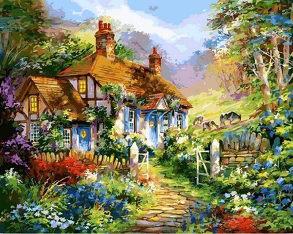 Картины по номерам 40×50 см. Дом в цветах