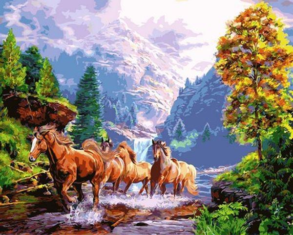 Картины по номерам 40×50 см. Дикие лошади