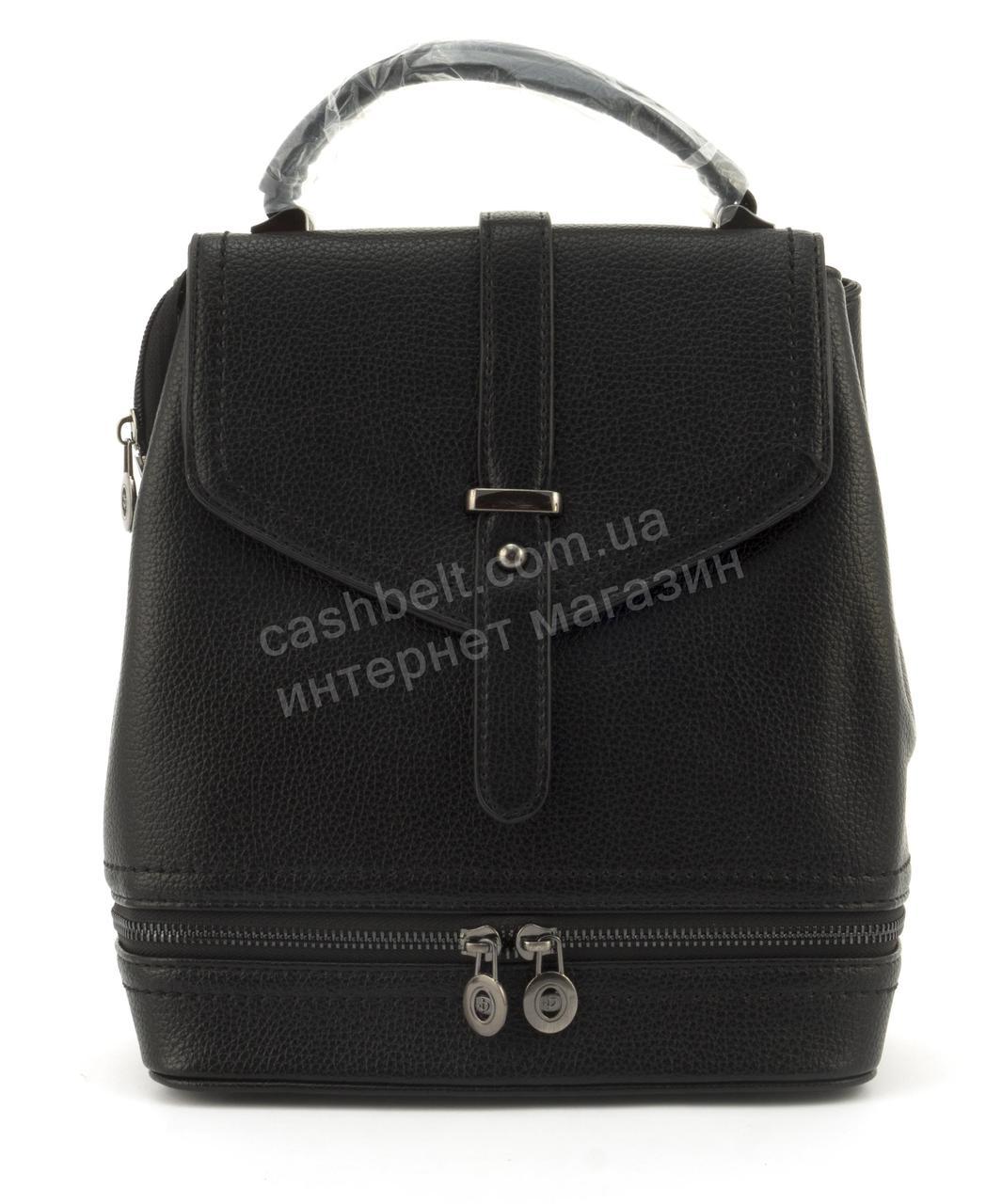 Прочный и стильный рюкзачок среднего размера из эко кожи art. A-708 черный