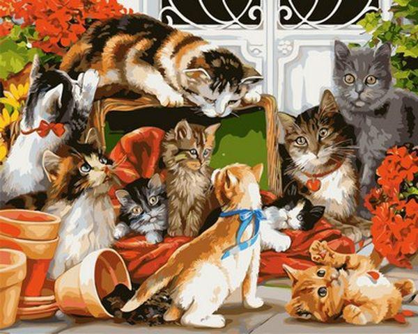 Картины по номерам 40×50 см. Время кошачьих игр