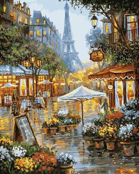 Картины по номерам 40×50 см. Весенние цветы Париж