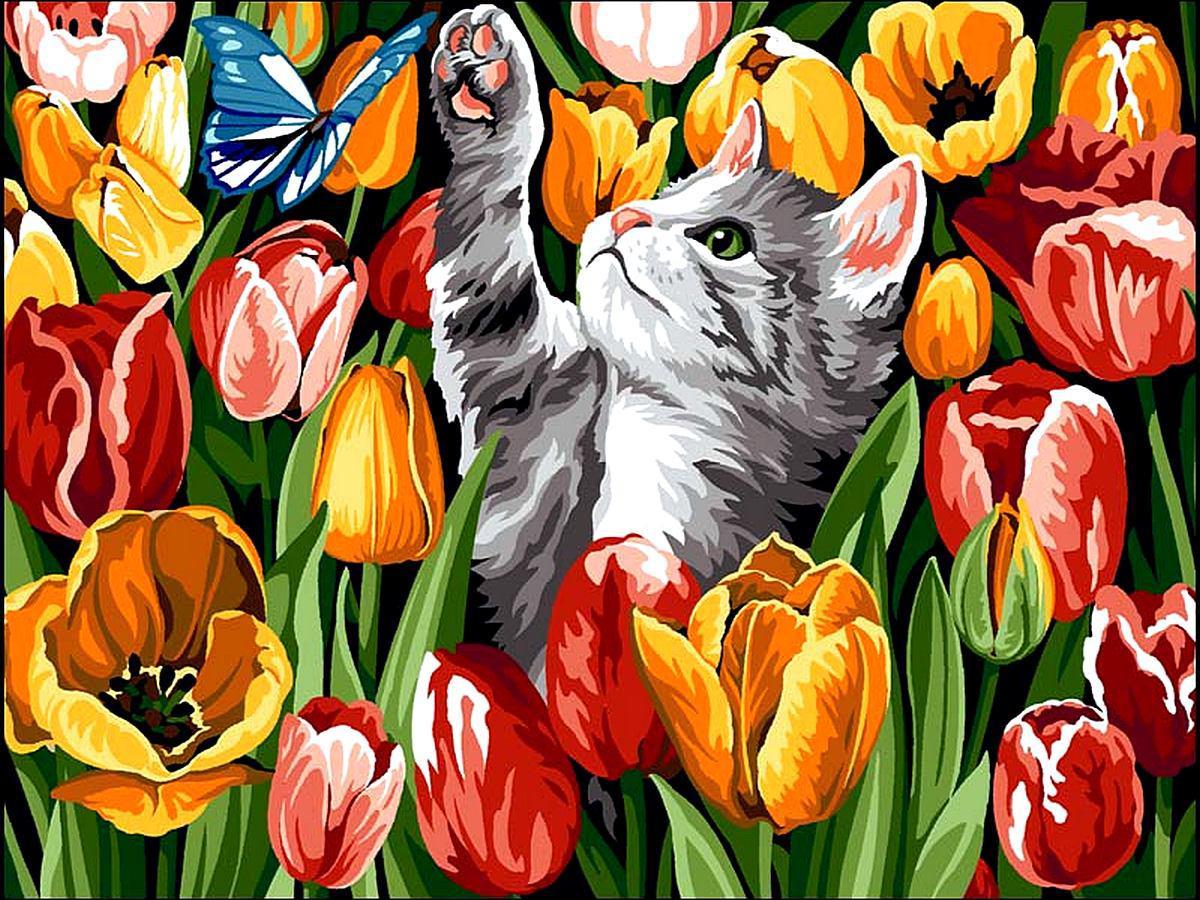 VK178 Раскраска по номерам Котенок в тюльпанах