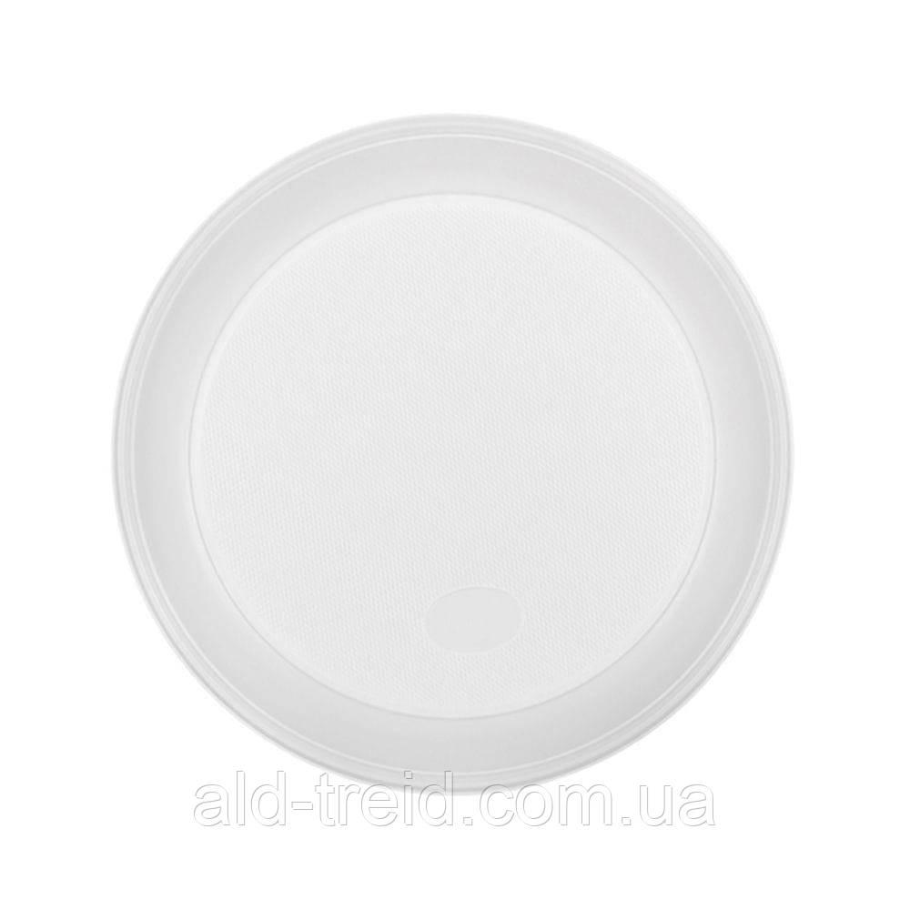 Тарелка одноразовая, d-165 мм, белая, 100 шт/уп