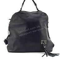 Прочная и стильная сумка-рюкзак из натуральной кожи art. 801-897 темно синий, фото 1