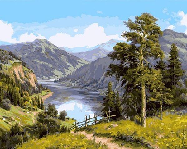 Картины по номерам 40×50 см. Горная река Художник Игорь Прищепа (VP-958)