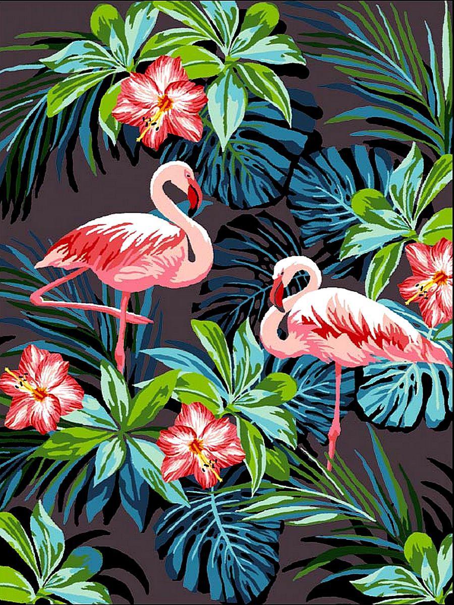 VK187 Раскраска по номерам Фламинго в цветах