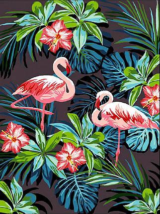 VK187 Раскраска по номерам Фламинго в цветах, фото 2