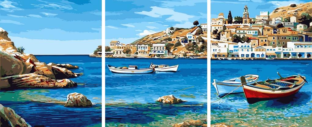 Картины по номерам 50х150 см. Триптих Средиземноморский залив Художник Адриано Галассо