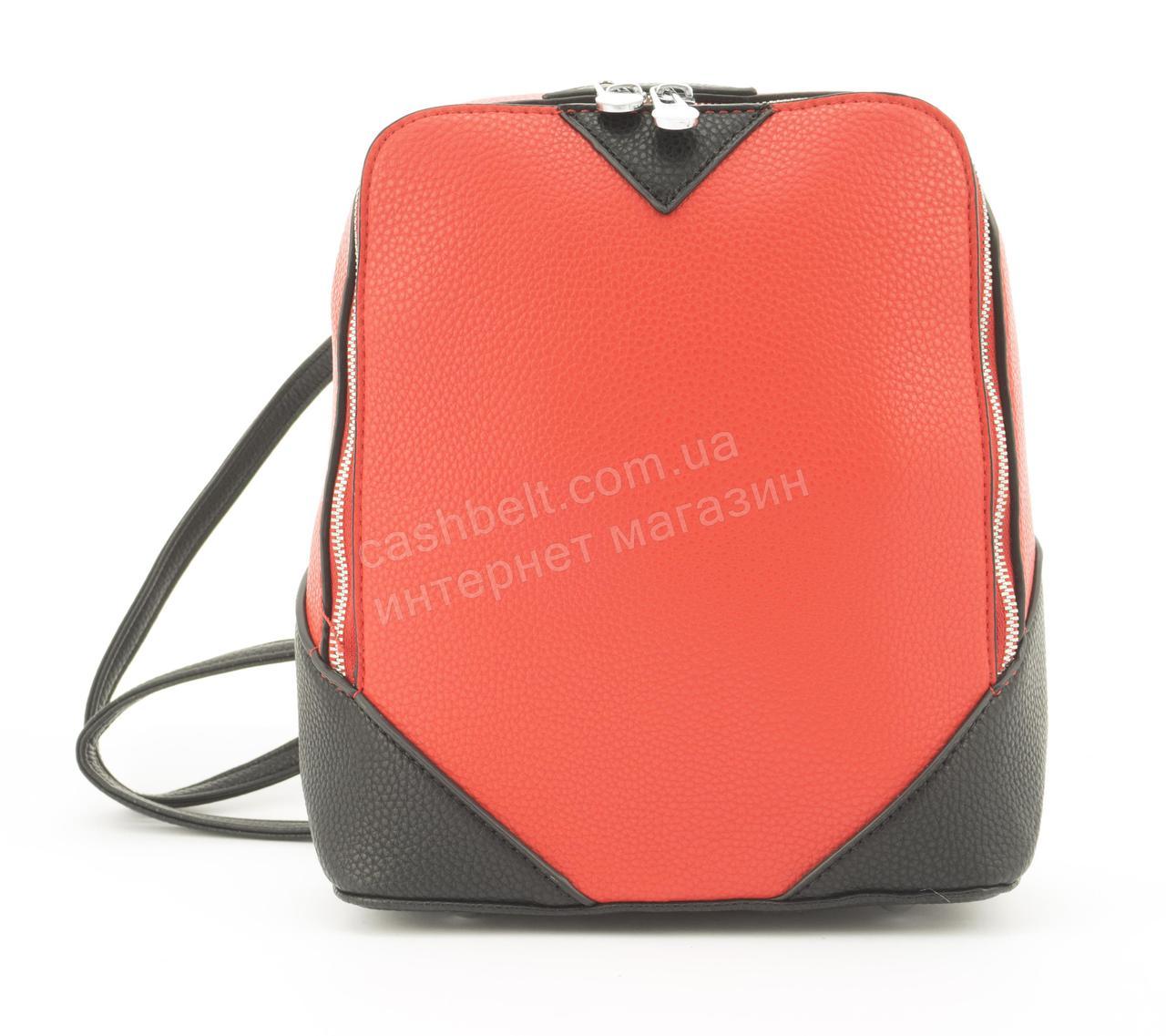 Прочный и надежный прямоугольный рюкзачок небольшого размера из эко кожи Suliya art. GJ-35 красный
