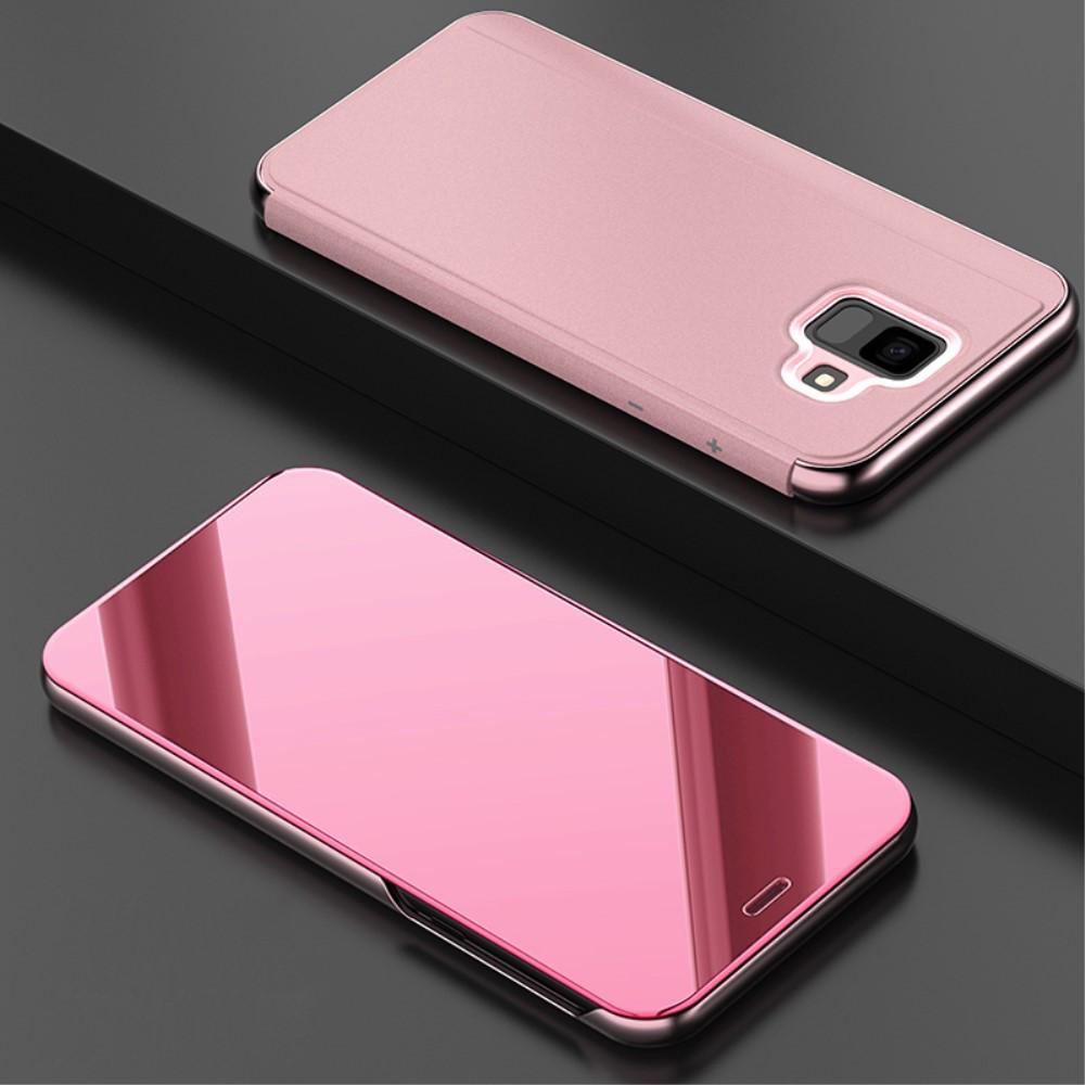 Чехол книжка для Samsung Galaxy A6 2018 A600 боковой с зеркальной крышкой, Smart Cover Золотисто-Розовый