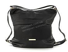 Объемная вместительная женская  сумка-рюкзак из качественного заменителя кожи art. TY65032 черная