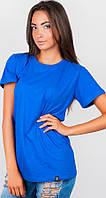 Женская футболка синего цвета прямым кроем