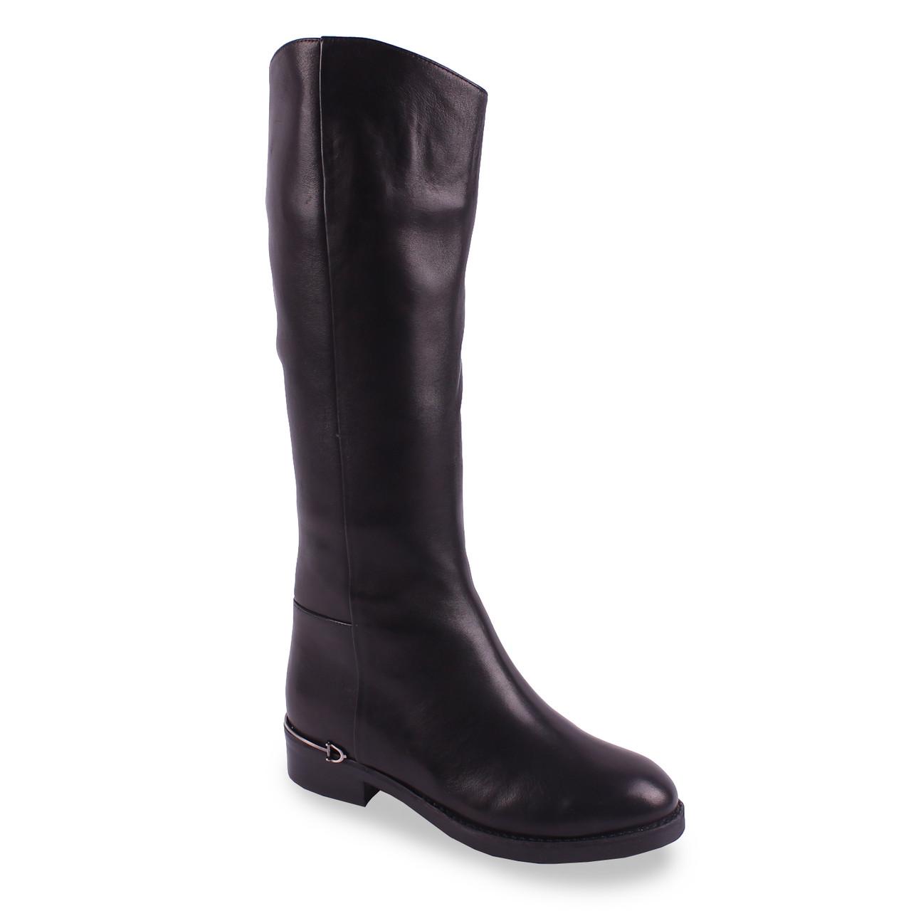 Стильные сапоги Deenoor (кожаные, зимние, стильный дизайн, черные, удобная подошва, Динор)