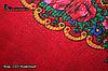 Червона українська хустка з парчою Вишенька, фото 5