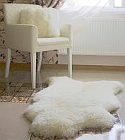 Шкура овечья декоративная, белый цвет, ковер, размер 130х80