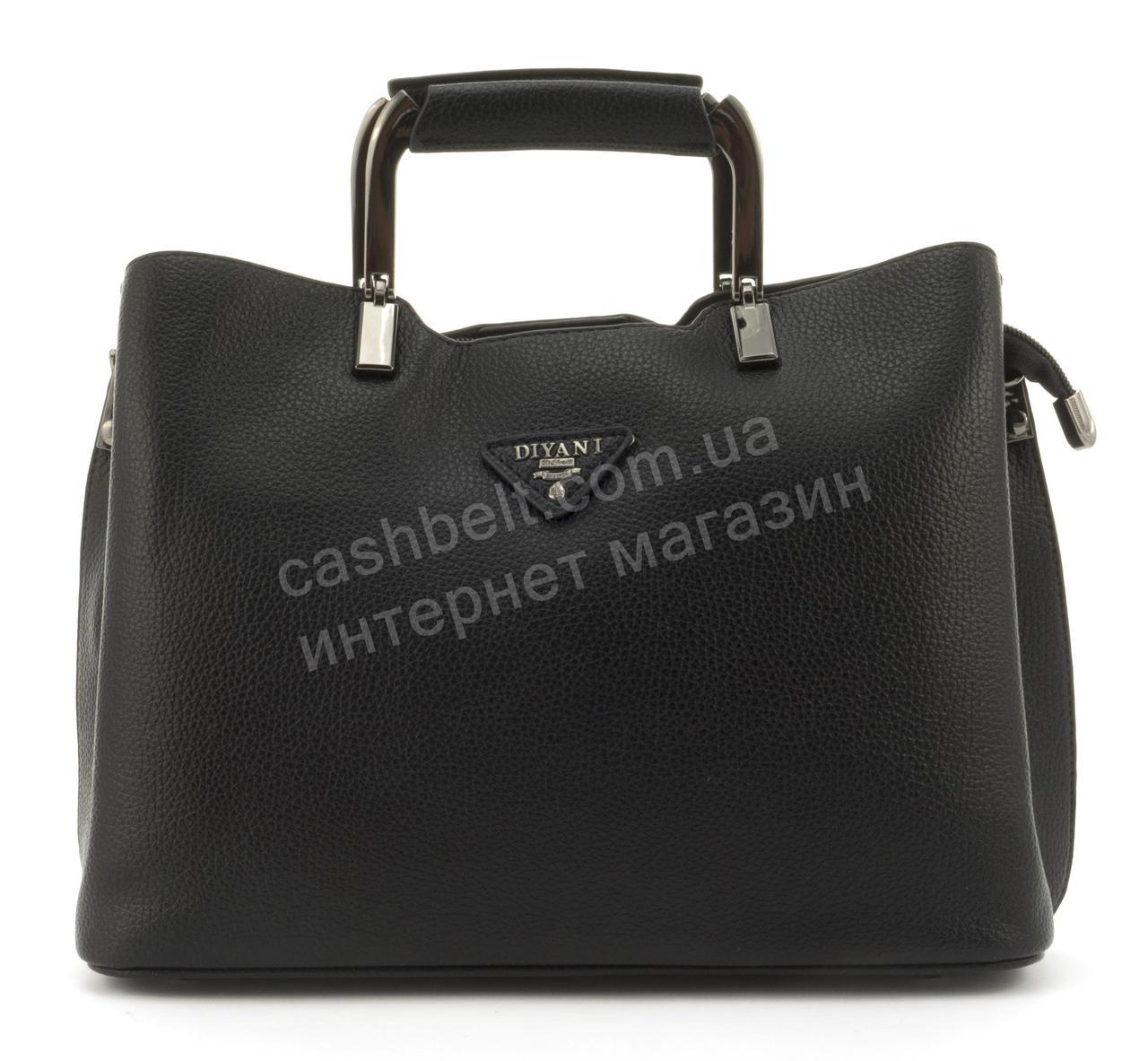 Качественная стильная прочная женская сумка с эко кожи высокого качества DIYANI art. A-553 черная