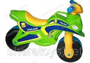Детский беговел-мотобайк Полиция (салатовый, МУЗЫКАЛЬНЫЙ)