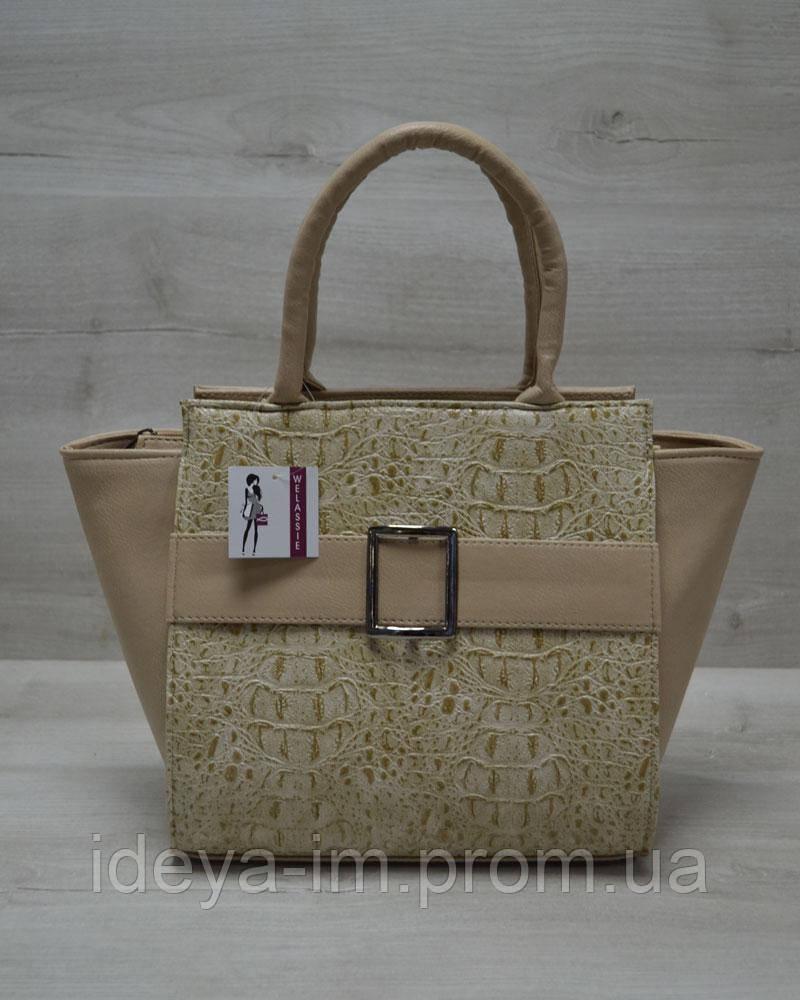 Молодежная женская сумка Ремень кофейный крокодил с кофейным гладким
