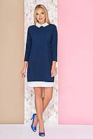 Офисное платье-рубашка по колено с белым воротником и подолом А-95 синее
