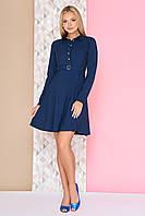Классическое приталенное платье с юбкой клеш до колен, длинный рукав А-97 синее