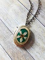 Винтажный медальон для фото с живым цветком, кулон ручной работы с черемухой