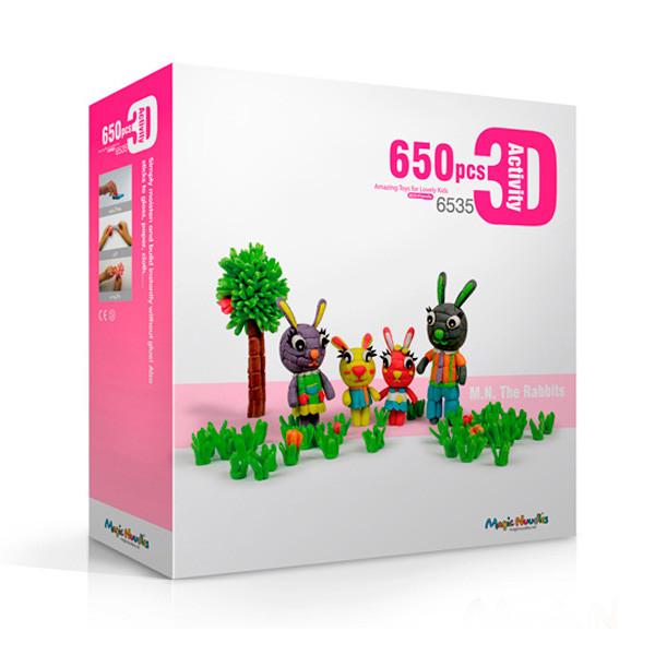 🔝 Развивающий конструктор, для детей, Magic Nuudles, 650 деталей - кролики | 🎁%🚚