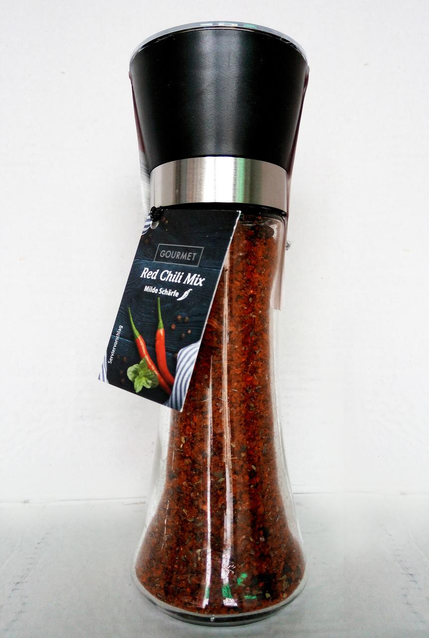 Микс перцев Gourmet Red Chili Mix в многоразовой мельнице (средне острый), 75 г.