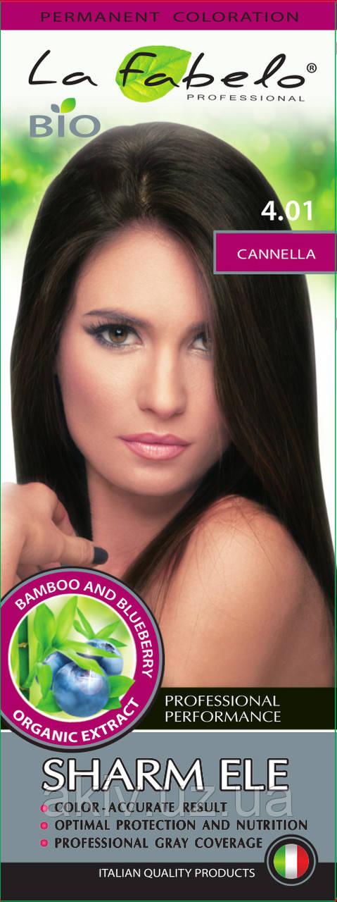 Крем-краска для волос био 50мл тон  4.01 La Fabelo Professional