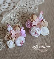 """Серьги с цветами """"Розовый шампань"""". Подарок девушке, фото 1"""