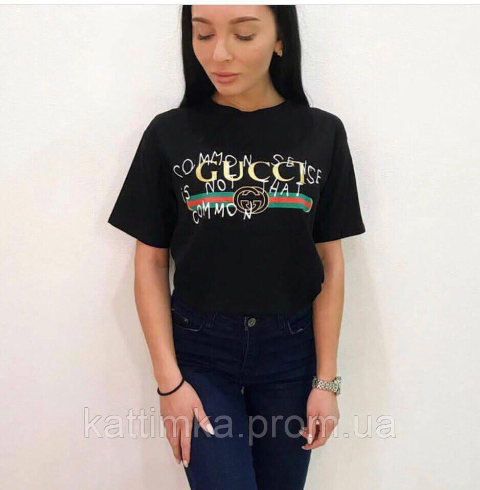 987b76e6e571 Женская футболка GUCCI в чёрном цвете - купить по лучшей цене в ...