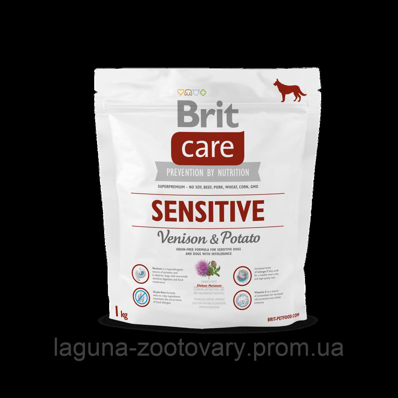 Brit Care Sensitive Venison & Potato 1 kg (д/взр. соб. всех пород с олениной)