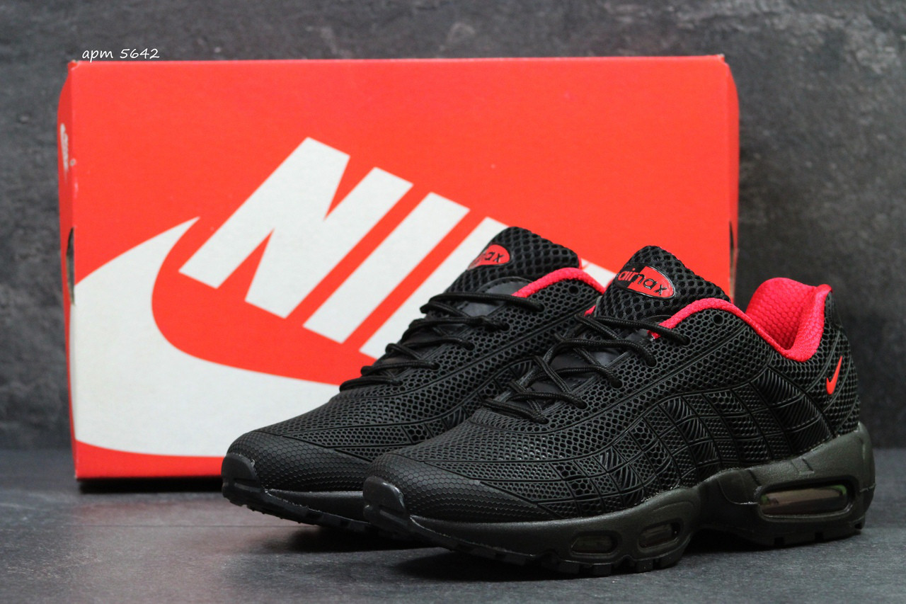 Кроссовки мужские Nike Air Max 95 код 5642 черные с красным - Интернет-магазин  обуви 4e4a2a262af83