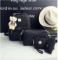 Комплект 4-в-1 с мягкой игрушкой съемной рюкзак сумка клатч визитница черный кожа PU.
