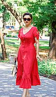 Платье женское красное приталенного силуэта с открытой спиной