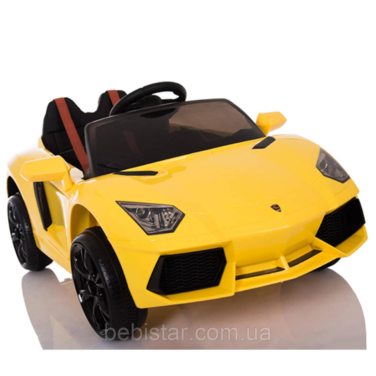 Электромобиль желтый T-7630 YELLOW  для деток 3-8 лет с пультом мотор 2*20W с MP3