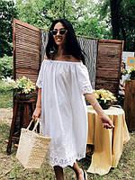 Платье женское длинное из батиста украшеное прошвой (К23570)